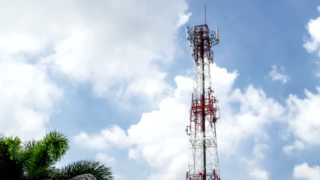 cellular phone tower and blue sky