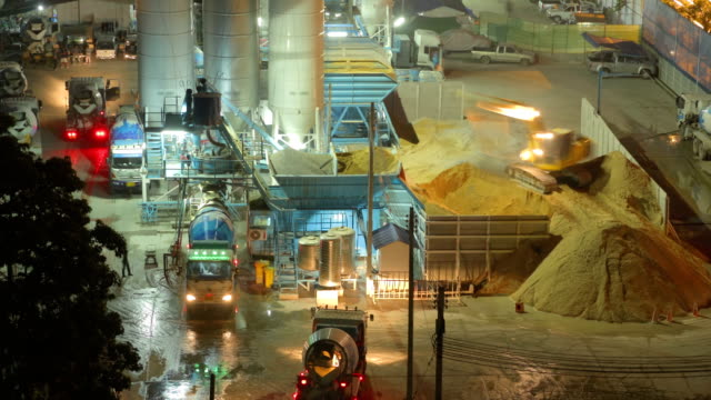 Cement mixer on the Construction Site,Time lapse