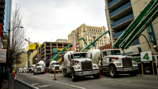 Cement pump truck pouring foundations  ,tielaps at seattle wa usa