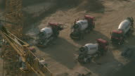 Cement trucks on a construction site