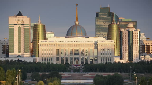 Central Asia, Kazakhstan, Astana, City Skyline and Ak Orda Presidential Palace of President Nursultan Nazarbayev