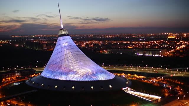 Central Asia, Kazakhstan, Astana, Night view over Khan Shatyr entertainment center
