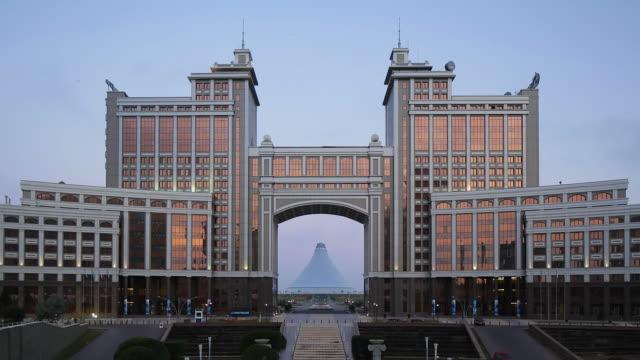 Central Asia, Kazakhstan, Astana, Nurzhol Bulvar,  KazMunaiGas building and Khan Shatyr center