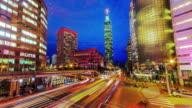 Zentrum von Taipeh Stadt vom Tag in den Abend
