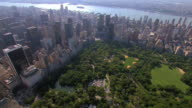 AERIAL Central Park South and the buildings of Manhattan / New York City, New York, United States