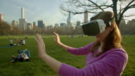 Central Park Virtual reality headset googles NYC You female woman