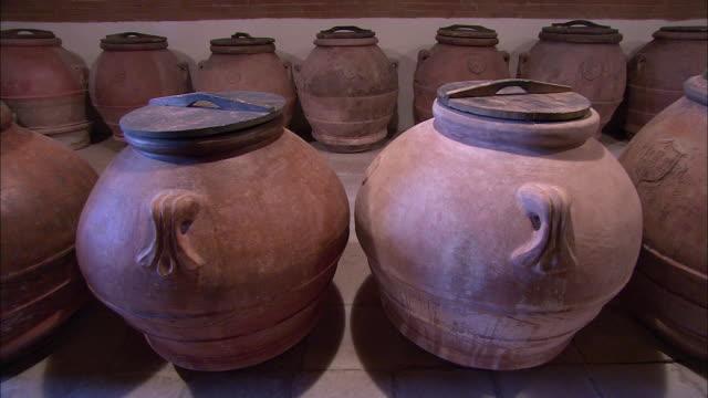 Ceramic pots with lids line a shelf.