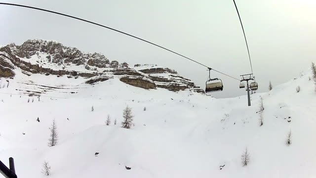chairlift in snowy mountain