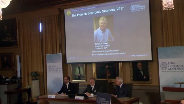 Chairman of the committee for the Nobel Economics Prize Per Stromberg Secretary General of the Royal Swedish Academy of Sciences Goran Hansson and...