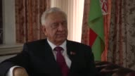 Chairman of the Council of the Republic of the National Assembly of the Republic of Belarus Mikhail Myasnikovich delivers a speech during an...