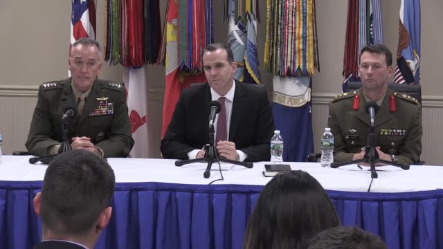 Chairman of the US Joint Chiefs of Staff Gen Joseph Dunford US Special Envoy for the Coalition to Counter Daesh Brett McGurk and Colonel Dave Kelly...