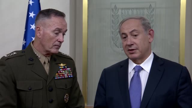 Chairman of US Joint Chiefs of Staff Gen Joseph F Dunford meets Prime Minister of Israel Benjamin Netanyahu in Jerusalem on October 18 2015 Footage...