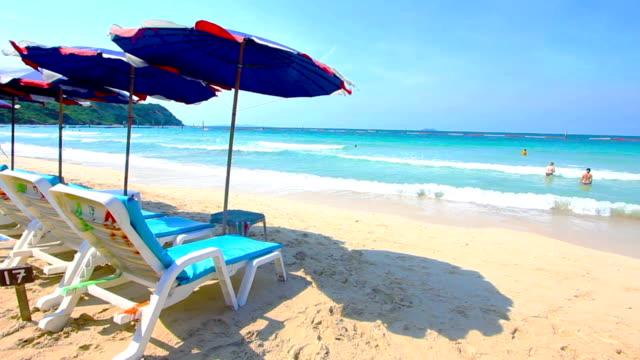 Chairs on beautiful tropical white sand beach