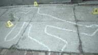 CU, SHAKY, chalk outline on pavement, Staten Island, New York City, New York State, USA