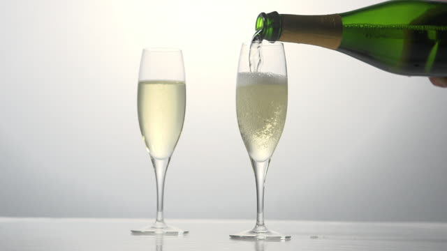 Champagne being poured into Glass against White Background, Real Time
