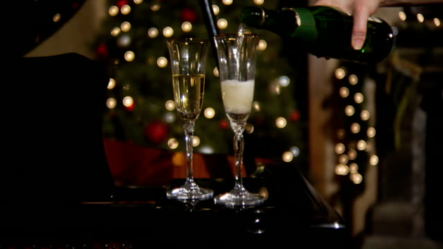 Champagne glasses at Christmas