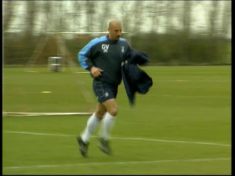Manchester United/Chelsea FC ITN ENGLAND London Chelsea FC training Chelsea player practising free kicks over plastic 'wall' of people Chelsea...