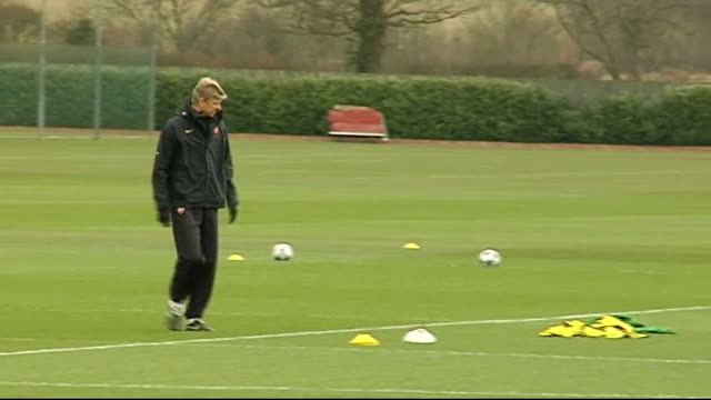 Arsenal prepare for Roma game ENGLAND Hertfordshire London Colney INT Ashton interview SOT EXT Arsenal team training INT Wenger press conference SOT...