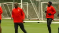 Arsenal prepare for Roma game Hertfordshire London Colney EXT Arsenal team training INT Neil Ashton interview SOT