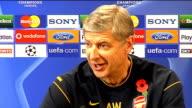 Arsenal press conference Arsene Wenger and Nicklas Bendtner ENGLAND Hertfordshire London Colney INT Arsene Wenger press conference SOT Talks about...