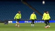 Champion's League Barcelona training session ENGLAND Manchester Etihad Stadium EXT Various of FC Barcelona squad training session on pitch players...