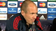 Bayern Munich press conference ahead of Arsenal match ENGLAND London INT Arjen Robben press conference SOT / Manuel Neuer press conference SOT via...