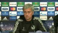 Chelsea v Atletico Madrid Chelsea press conference Mourinho press conference SOT more of his philosophy of football / misconduct charges / on how...