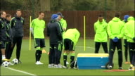 Chelsea v Manchester United Chelsea training Players gathered together and knocking balls around as Ancelottti talks to Fernando Torres / players...