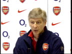 Chelsea to play Arsenal ITN Arsenal sign PAN doorway Arsenal players training Arsene Wenger press conference SOT Never you would be surprised we just...