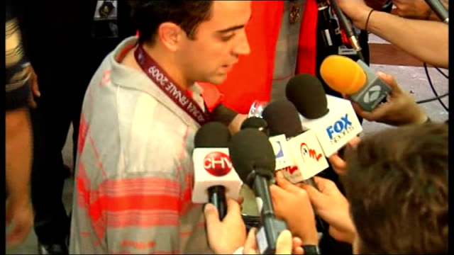 Final Barcelona v Manchester United postmatch interviews and shots from mixed zone Xavi talking to press