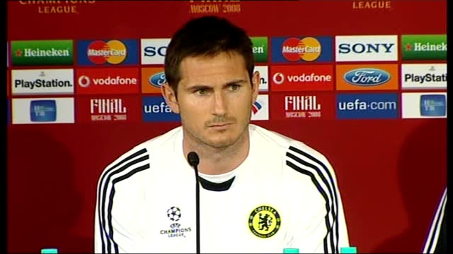 Chelsea FC press conference RUSSIAN FEDERATION Moscow INT Frank Lampard and John Terry press conference SOT Hope we can make it a family double The...