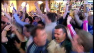 Manchester United win penalty shoot out ENGLAND London INT Chelsea fans in bar celebrating equaliser