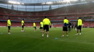 FC Barcelona training at Emirates Stadium Zlatan Ibrahimovic during training / Wide shots training session / Ball on ground / Wide shots team kicking...