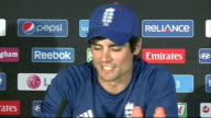 Alastair Cook press conference ENGLAND Birmingham Edgbaston PAN across Edgbaston Cricket Ground / 'ICC Champions Trophy Birmingham' sign on stands /...