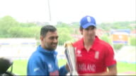 Captains' photocall ENGLAND Birmingham Edgbaston EXT Alastair Cook and Mahendra Singh Dhoni posing for photocall with ICC Champion's Trophy
