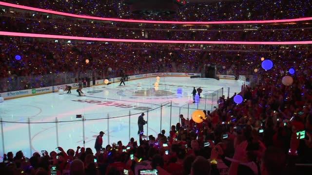 WGN Championship Banner Raising Ceremony Before Blackhawks Home Opener in Chicago on October 7 2015