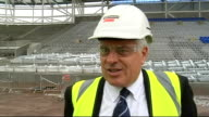 First view of new Cardiff City stadium WALES Cardiff City Cardiff City Stadium EXT View of unfinished stadium from inside Peter Ridsdale interview...