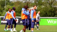 Reading prepare for playoff semifinal Reading players training including Little Duberry Closeup of Hahnemann training Players moving the goalposts