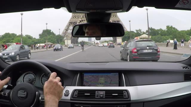 Champs Elysees .Inside car driving Pov.