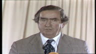 Chancellor Denis Healey at Scarborough ENGLAND Scarborough 'I have to talk about MS people listen jobs and prices' VTR ARchive tape 480 V78/3251...