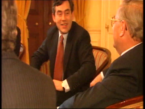 Chancellor Gordon Brown in photo call with the governor of the Bank of England Eddie George and Mervyn King London 2003