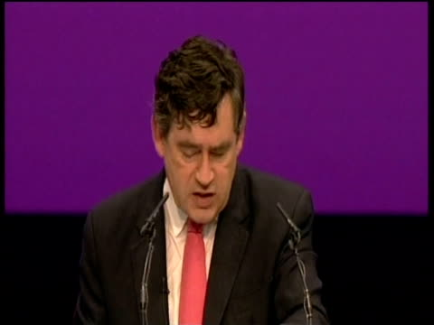 Chancellor Gordon Brown passionately addresses party delegates at annual conference