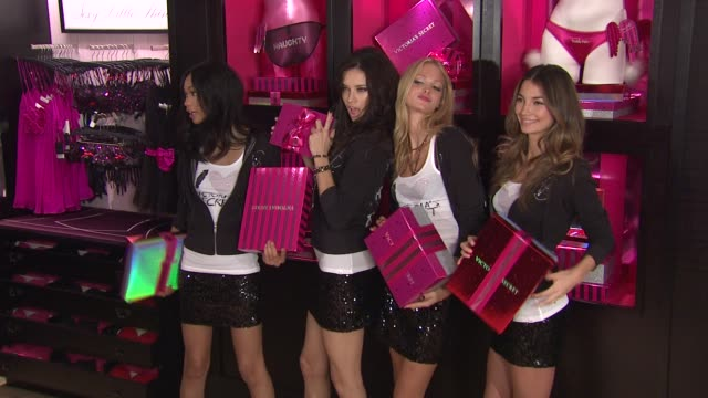 Chanel Iman Adriana Lima Erin Heatherton and Lily Aldridge at the Victoria's Secret Angels Reveal Their Favorite Holiday Gift Picks At Victoria's...