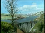 Changing scenery of Elan Valley dam from winter to spring, UK