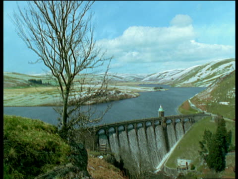 Changing scenery of Elan Valley dam from winter to spring, UK