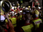Channel tunnel CHANNEL INT CMS French tunnelling machine turning TMS Workers in hard hats PULL OUT lots more cheering and clapping CMS Tunnel workers...