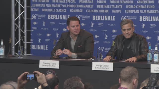 Channing Tatum George Clooney Ethan Coen Joel Coen Josh Brolin Tilda Swinton Alden Ehrenreich at 'Hail Caesar' Press Conference 66th Berlin...