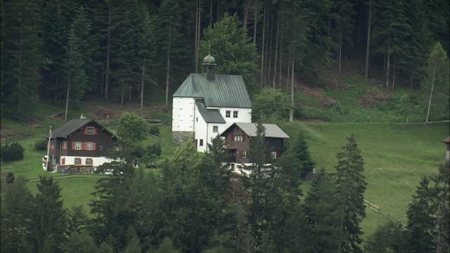 AERIAL Chapel on hill by Reichenau, Graubunden, Switzerland