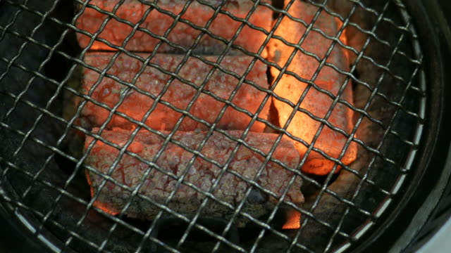 charcoal grill with burning coal , close up