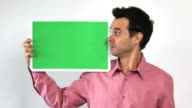 Charismatic Sales Guy With Green Screen Board, Hesitant
